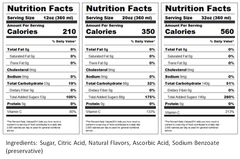 Lemon Ice Nutrition Label