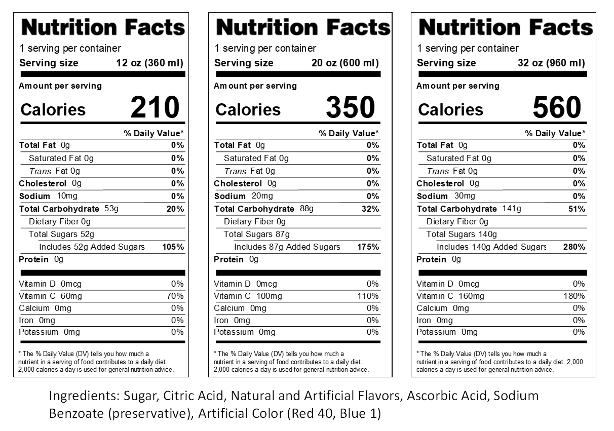 Rock n' Roll Blood Nutrition Label