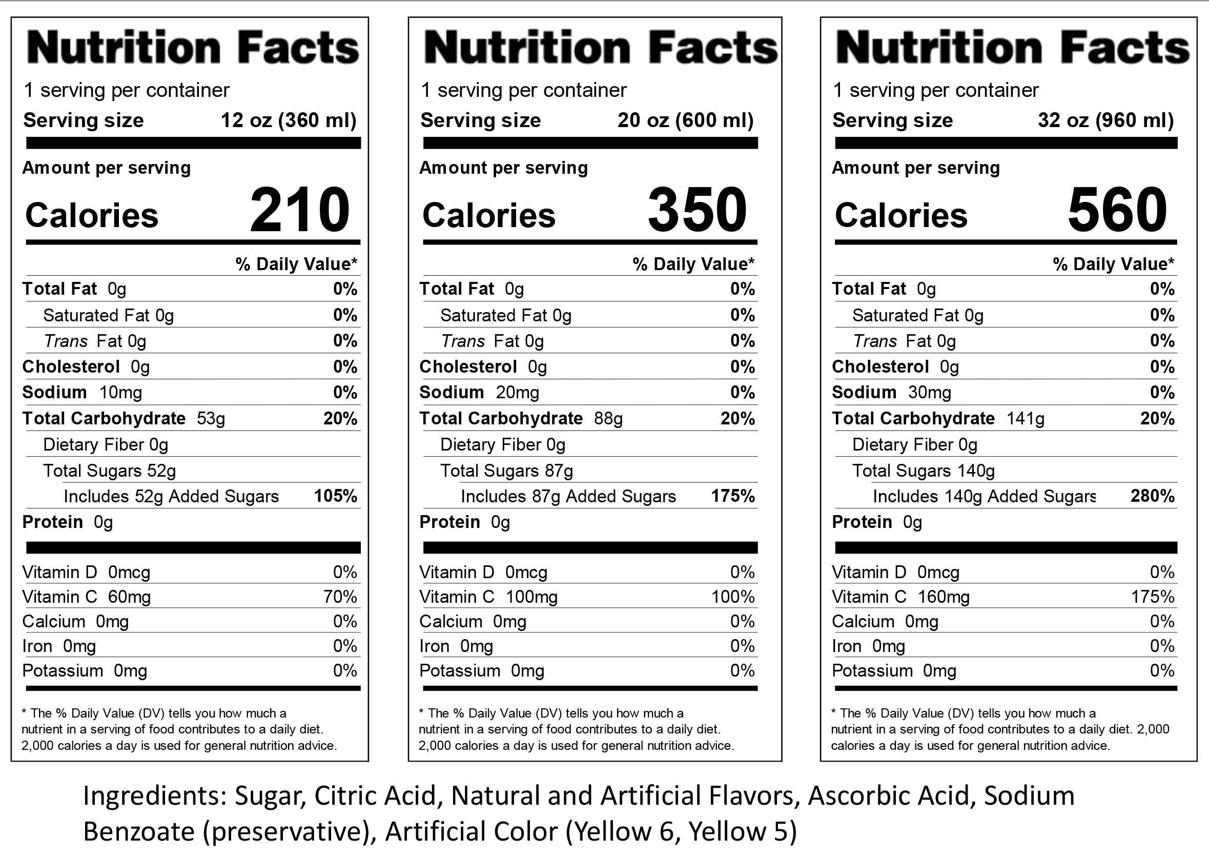 Simply Mango Nutrition Label